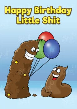 Illustration of big turd giving a little turd balloons - Funny Adult Greeting Card from Shelt